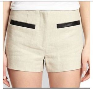 L'Agence Linen & Faux Leather shorts